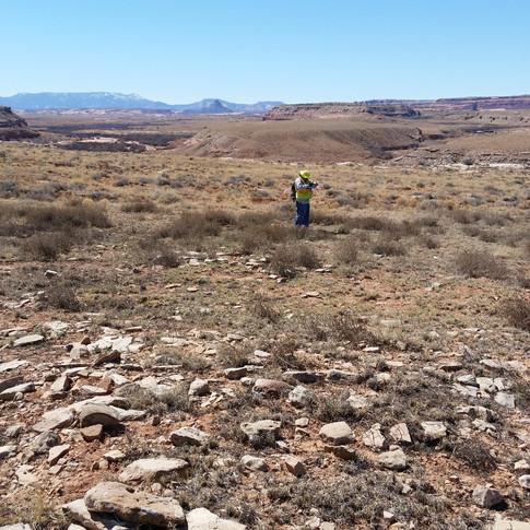 Jeff recording an Anasazi habitation site.
