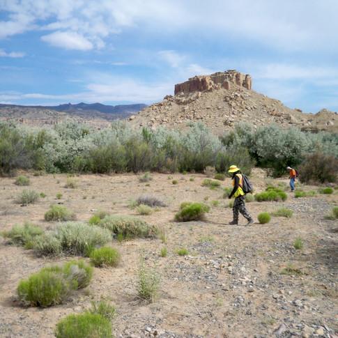 Brandi and Cliff surveying.