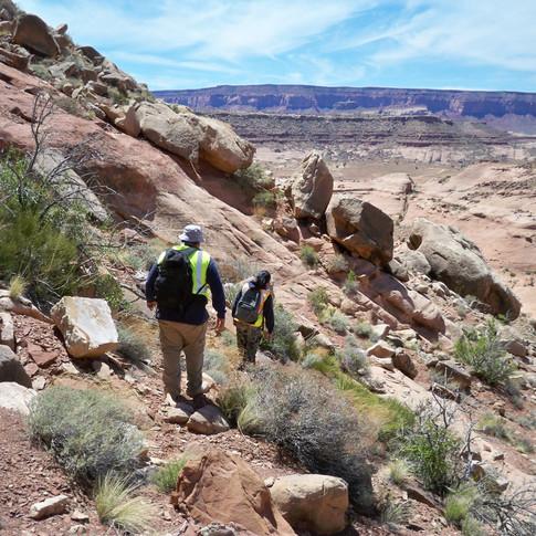Jeremy and Brandi scaling the cliffs.