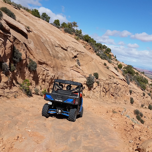Traveling in ATVs.