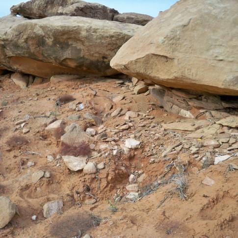 Anasazi site beneath sandstone boulders.