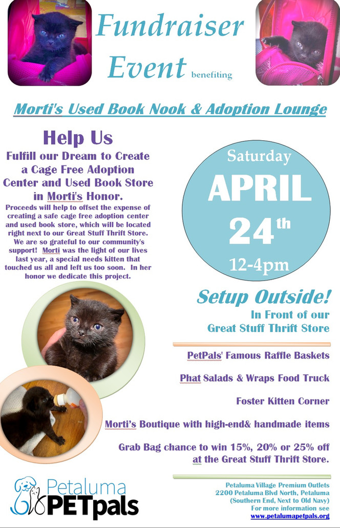 To Honor Morti! Help us Raise Funds for our new Adoption Lounge (and Used Book Store!)