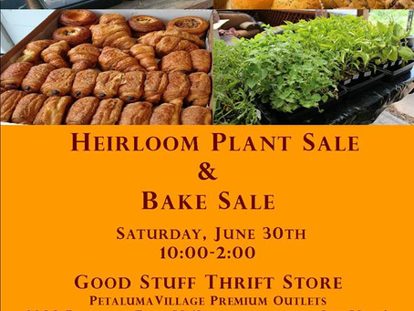 Heirloom Plant Sale and Bake Sale - June 30, 2018 10am-2pm