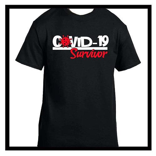 Covid-19 Survivor black or grey cotton tee-shirt