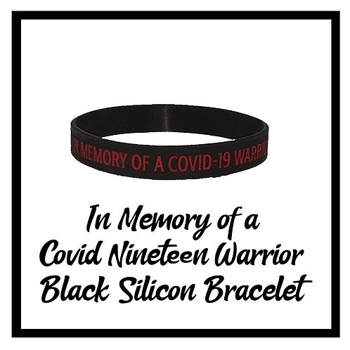 In Memory of Covid-19 Warrior Black Silicon Bracelet- One size