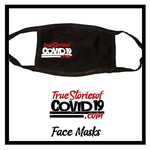 True Stories of Covid19.com black over the ear cotton face mask