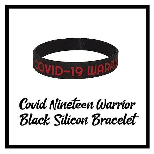 Covid-19 Warrior Black Silicon Bracelet  one size