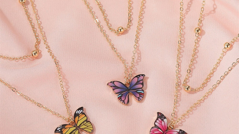 Butterfly Pendant Necklaces Colourful Rhinestone