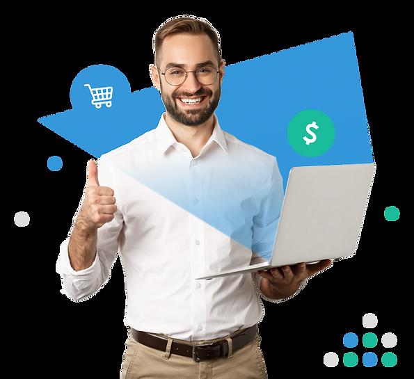 Hombre de negocios sonriendo sosteniendo laptop con tienda online y ventas digitales