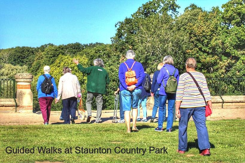 Walkers following a walk leader