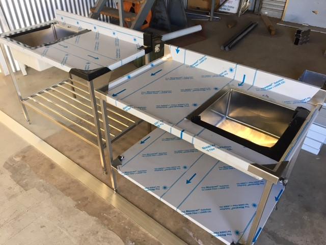 Custom made stainless steel benchtops