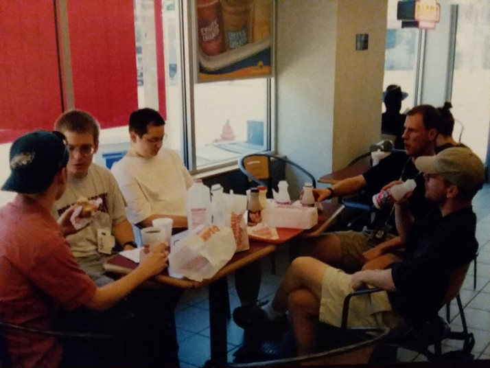 Donuts in the morning. Chad, Jason, Casey, Mark, and Jon.