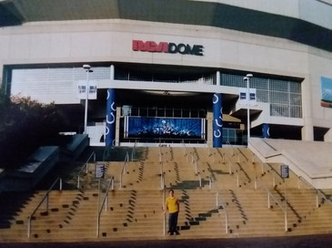 Brian in front of the RCA dome.  The dome is no longer around.  Brian is though.  That