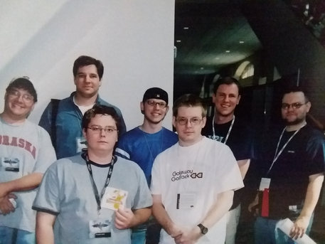 The 2002 Gen Con Crew: Ozzie, Will, CAsey, Chad, Jason, Mark, and Aaron.  Brian was taking the picture.