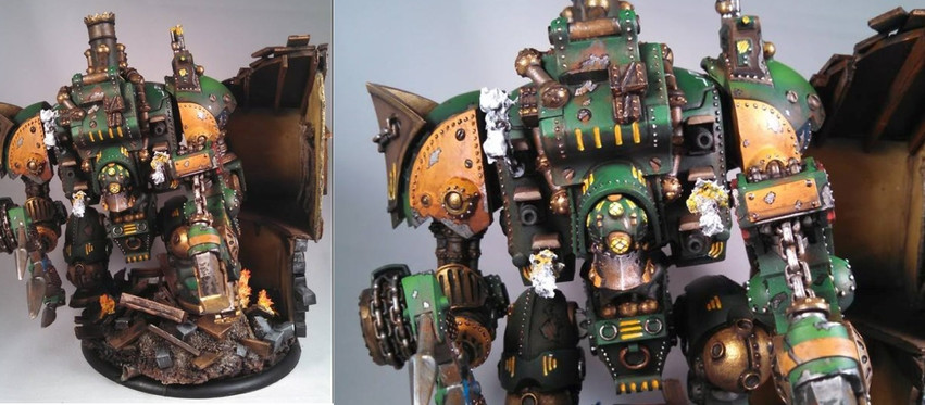 A Warmachine Galleon painted by Brian.  The base and house was build by our friend Matthew.