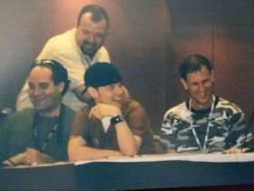 Tracy Hickman getting ready to kill Chad and Mark in Killer Breakfast.