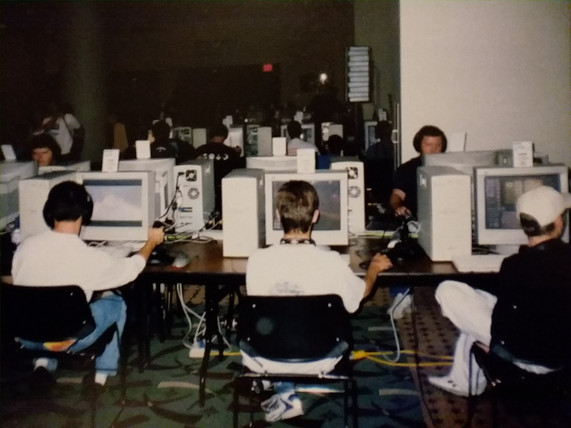 What are these beasts of machines?!  Also, what are they playing?!  It was either Everquest or some game that had Bruce Campbell in it.