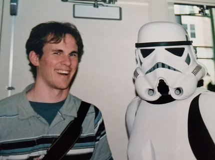 Brian hagning with a Stormtrooper.