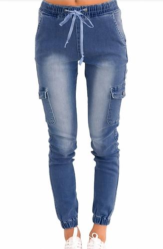 Drawstring Denim Jeans
