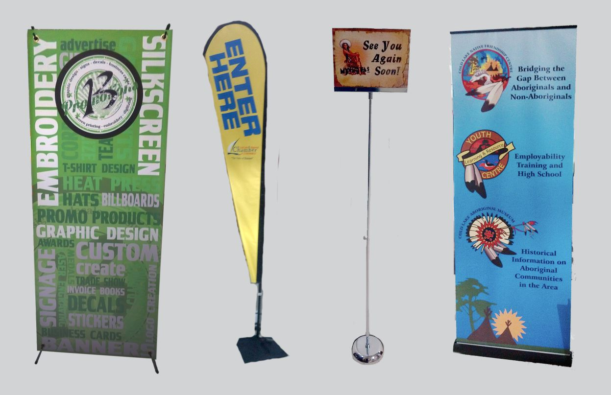 Assorted banners and flags with stands