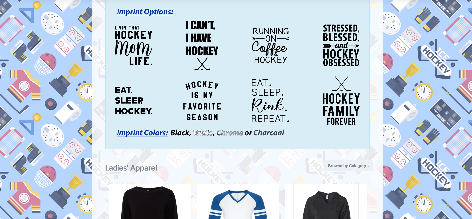 Hockey Mom Order My Gear Page