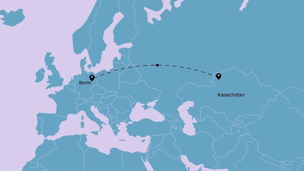 eine Flugroute auf der Landkarte