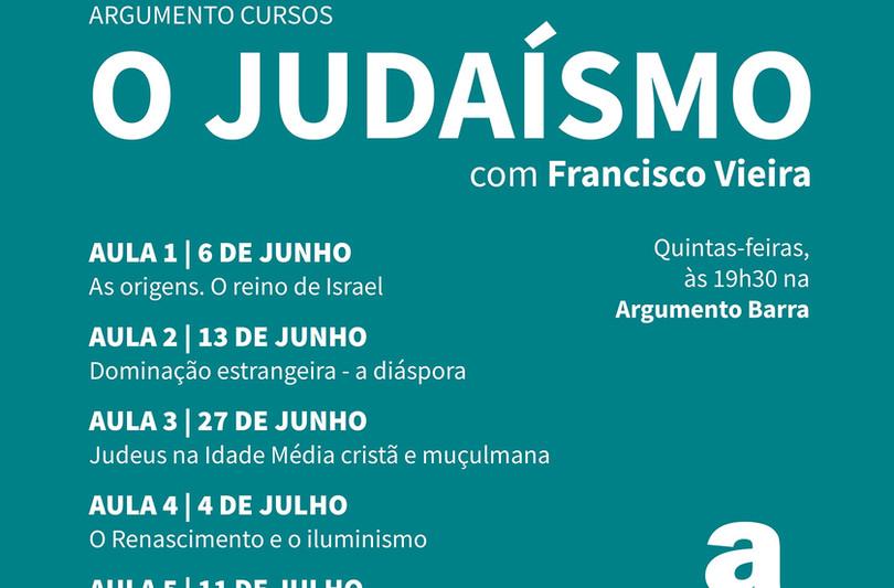"""Cartaz curso """"O Judaísmo"""" com Francisco Vieira"""