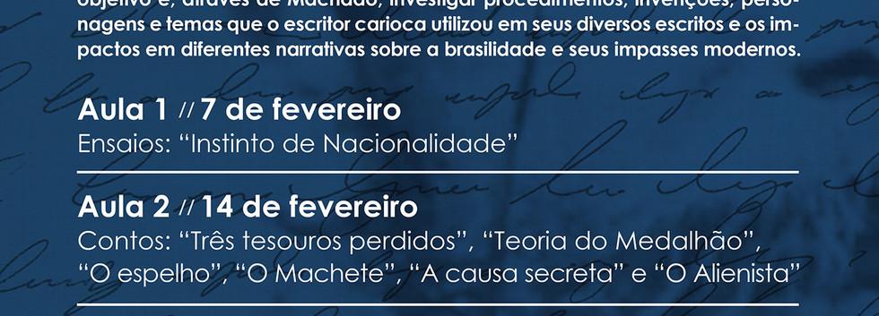 """Cartaz curso """"Machado de Assis"""" com Fred Coelho"""