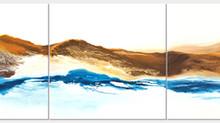Sleeping Bear Inspires New Triptych Painting, Golden Sand Dunes