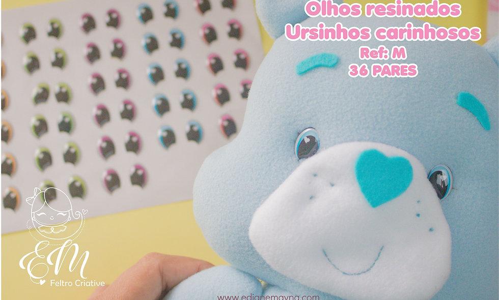 Olhos resinados para bonecos - Ursinhos Carinhosos M- 36 pares