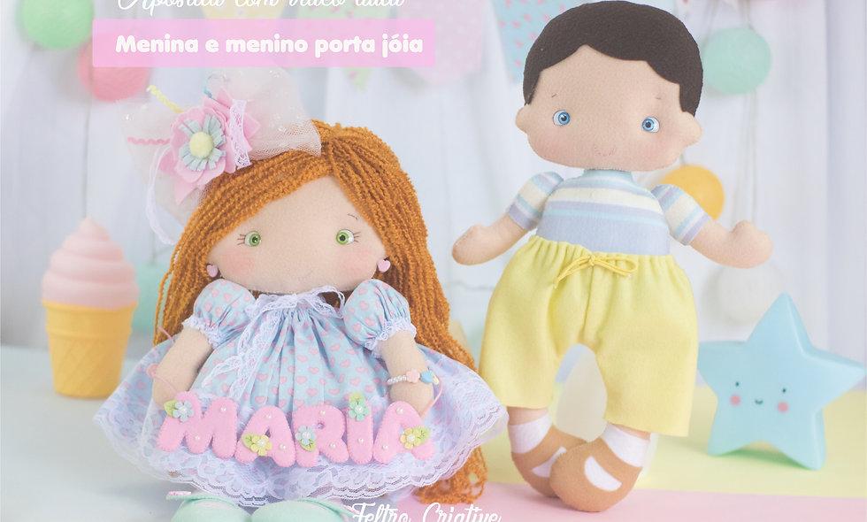 Boneca e boneco porta joias