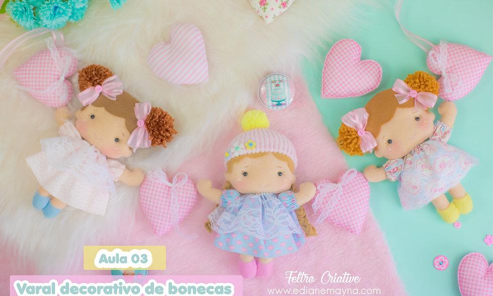 Varal decorativo de bonecas-Oficina de feltro