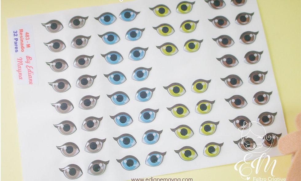 Olhos resinados para bonecos 483-M 32 pares