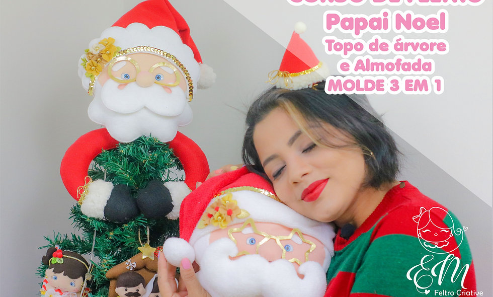 Curso papai Noel topo de arvore e almofada.