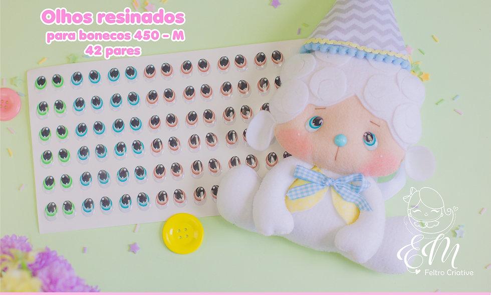 Olhos resinados para bonecos 450- Tamanho M.