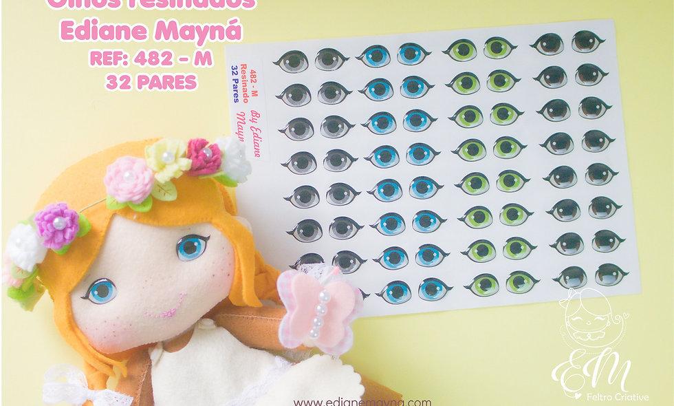 Olhos resinados para bonecos 482- Tamanho M.