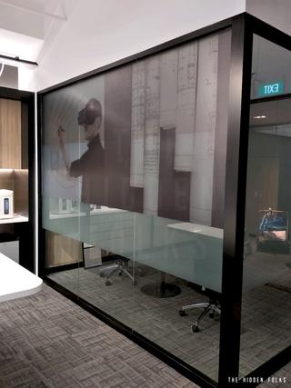 Transparent sticker on glass panel for Bespoke Builders Pte Ltd.