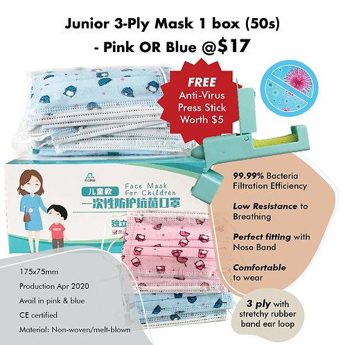 CARE Bundle - 3-Ply Junior Mask (50pcs) + FREE Anti Virus Press Stick