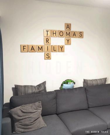 Customised family word tiles