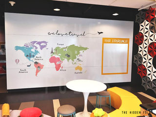 Die-cut full color world map sticker