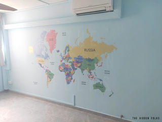 Die-cut world map