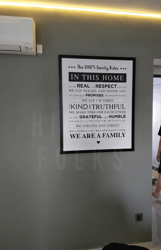 Customised house rules wall frame