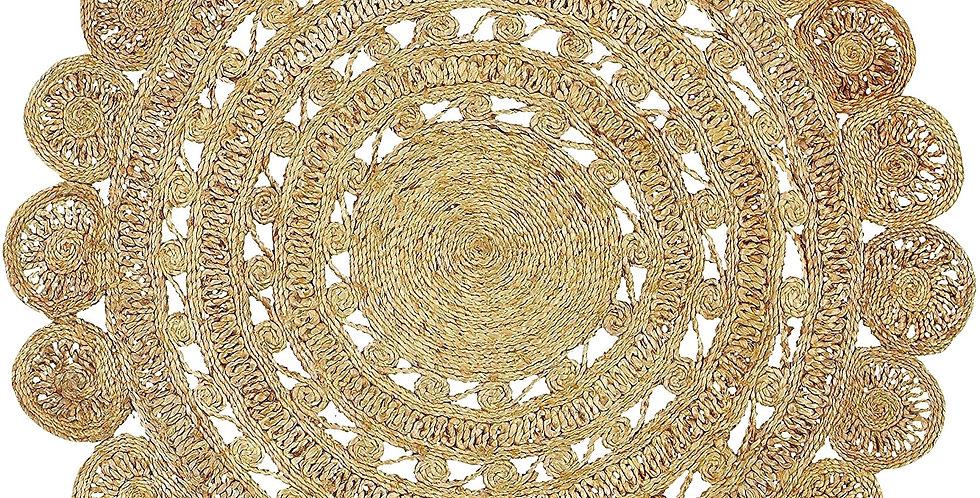 Round Flower Jute Rug