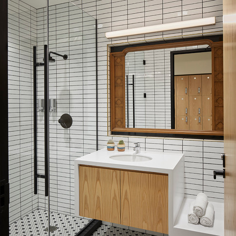 Classic Tile and Wood Bathroom in Confidential Chicago Financial Firm  | Kuchar