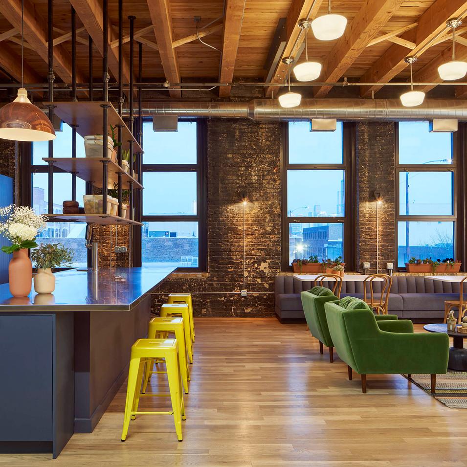 Cozy Industrial Employee Lounge for Farmer's Fridge   Kuchar