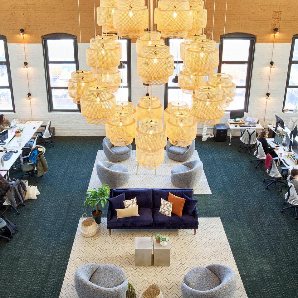 Custom Inexpensive Lighting in Farmer's Fridge Start-Up Office Lounge in Chicago, IL | Kuchar