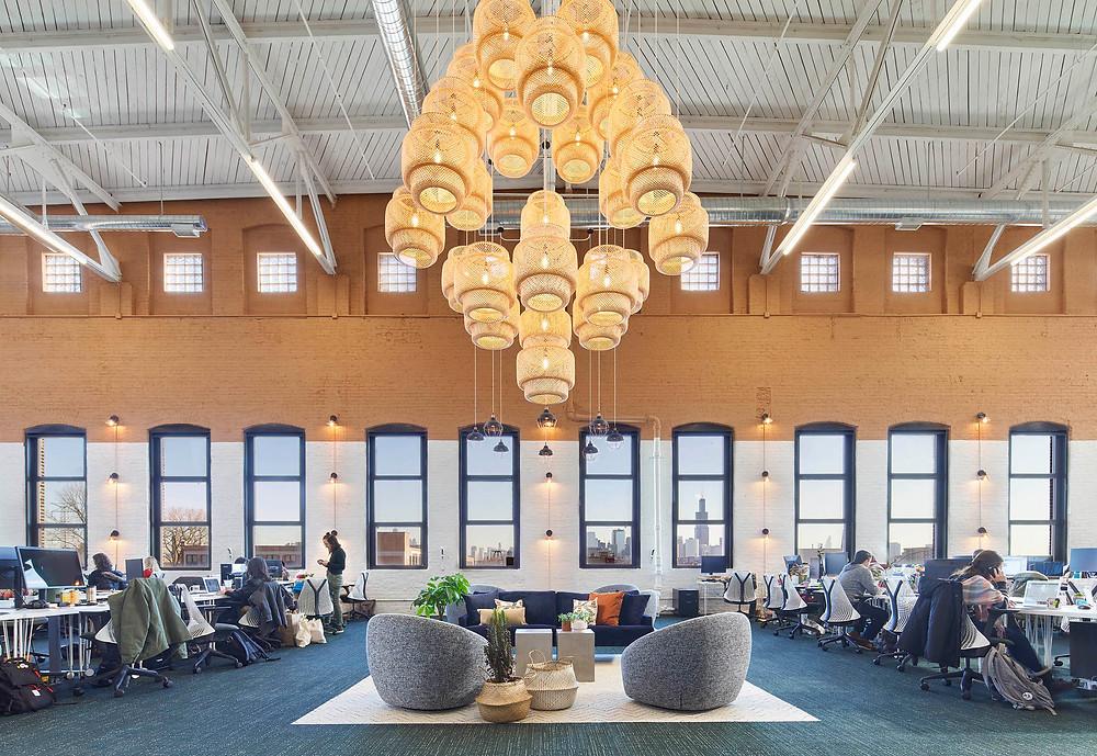 Farmer's Fridge open office with custom IKEA pendant chandelier in Near West Side, Chicago | Kuchar
