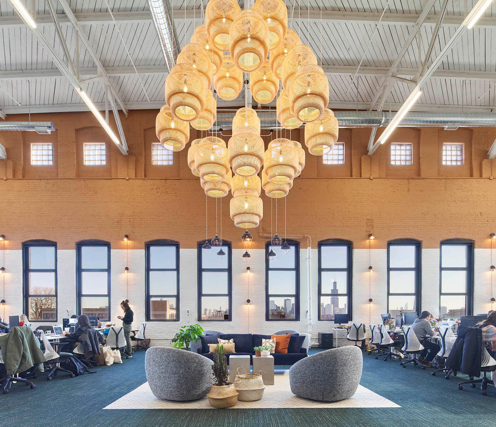Custom Inexpensive Lighting in Farmer's Fridge Start-Up Office   Kuchar