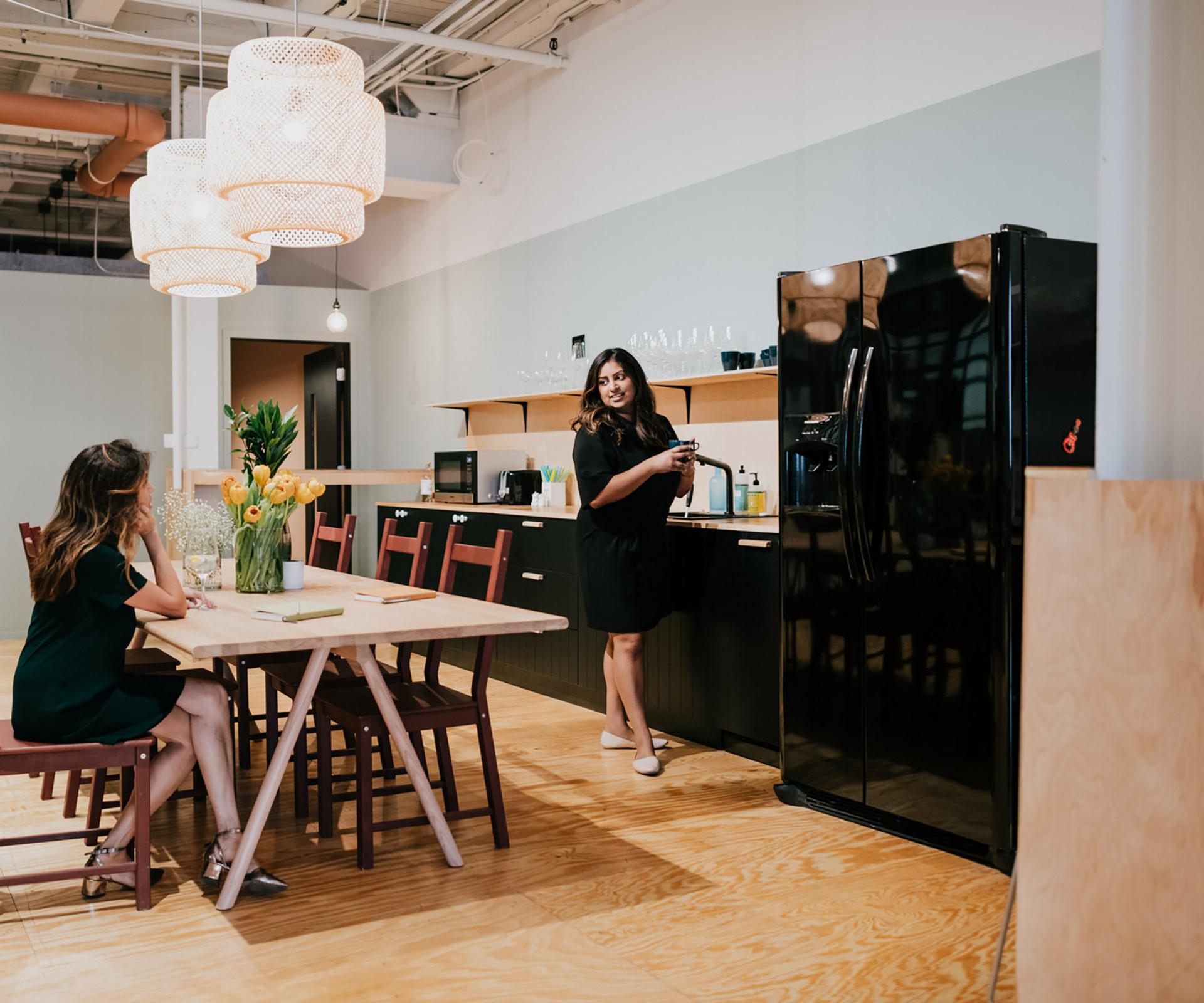 Basketweave Pendants and Wood Shelving for Studio Hub | Kuchar