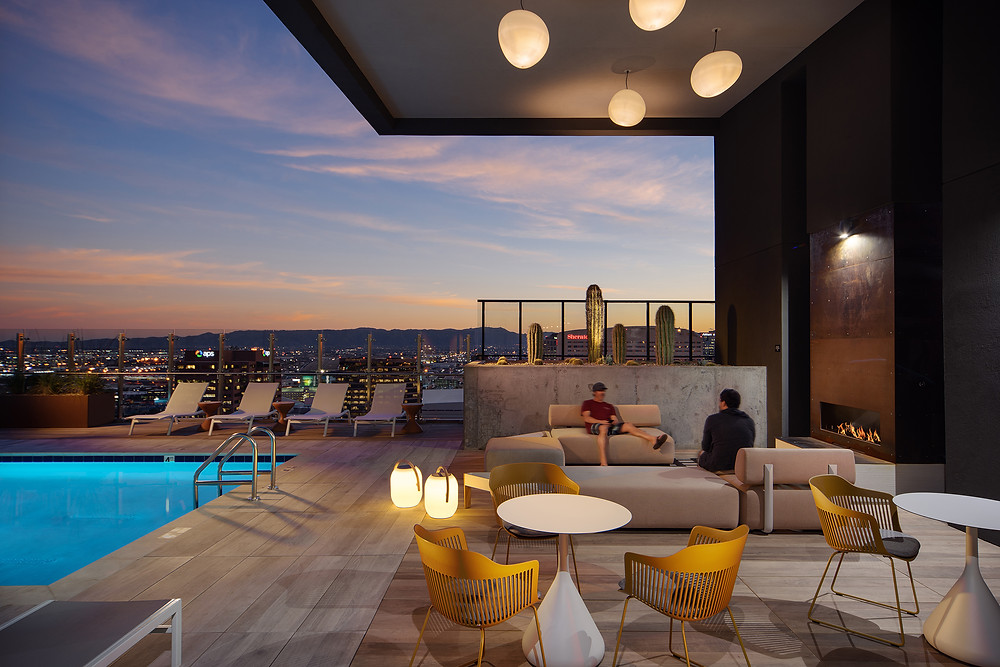 Roof deck Pool with Lounge and  Fireplace Feature